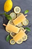 stock photo of popsicle  - Fresh lemon popsicles on slices of organic lemons - JPG
