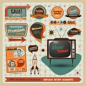 picture of tv sets  - Vintage And Retro Design Elements illustration - JPG
