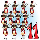 image of bagpiper  - The 12 Days of Christmas vector Illustration - JPG