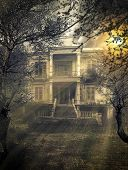 foto of spooky  - old abandoned  Scary Haunted house - JPG