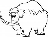 picture of mammoth  - Black and White Cartoon Illustration of Funny Prehistoric Mammoth or Mastodon for Coloring Book - JPG