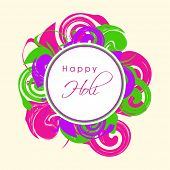 Indian festival Happy Holi celebrations sticker, tag or label on beautiful floral decorated colourfu