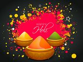 foto of holi  - Indian festival Happy Holi celebrations concept with shiny colour powders on splash background - JPG
