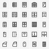 stock photo of elevator icon  - Set of Doors icons on grey background - JPG