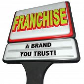 stock photo of food chain  - Franchise Chain Fast Food Restaurant Sign Licensed New Business - JPG