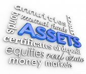 pic of possess  - Assets Word Collage Money Terms Value Possessions - JPG