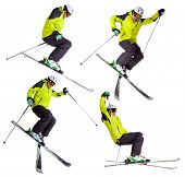 foto of aerobatics  - Collection of skier jumping freeride tricks - JPG