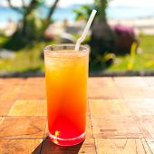 pic of fruit shake  - Fruit shake cocktail with ice tropical vacation - JPG