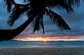foto of boracay  - Yellow sunset on tropical beach - JPG