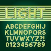 pic of neon green  - Green Parallel Neon Light Alphabet And Numbers - JPG