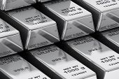 stock photo of treasury  - Stack of Bank Silver Bars extreme closeup - JPG