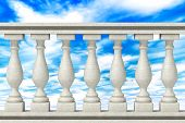 image of balustrade  - Closeup Balustrade Pillars on a sky background - JPG