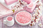 image of salt-bowl  - Pink spa set with sea salt on a table - JPG