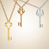 stock photo of skeleton key  - Background with vintage skeleton keys with pearls - JPG