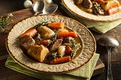 picture of stew pot  - Homemade Irish Beef Stew with Carrots and Potatoes - JPG