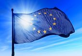 picture of waving  - European Union flag waving on the wind - JPG