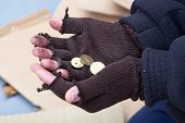 image of beggar  - Homeless mans stretching out hands for a money - JPG