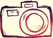 stock photo of instagram  - hand drawn doodle digital camera illustration with instagram effect - JPG