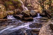 pic of crevasse  - Smoky Mountain stream cascades through the wilderness of the Great Smoky Mountains National Park in North Carolina - JPG