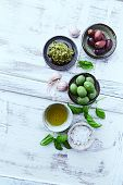 stock photo of kalamata olives  - Basil Pesto - JPG