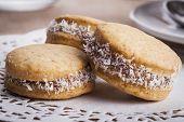 image of clos  - Small round cocnut cookies clos - JPG