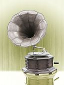 image of hooters  - Vintage Gramophone with disc isolated on grunge background - JPG
