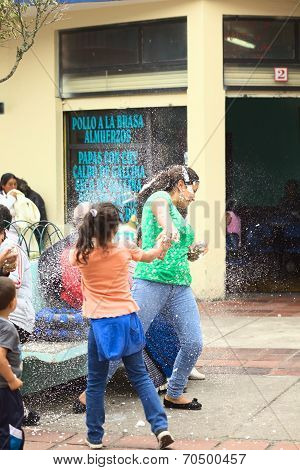 Spraying Foam at Carnival in Banos, Ecuador