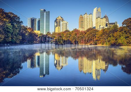 Atlanta, Georgia, USA midtown skyline from Piedmont Park.