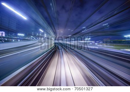 Monorail motion blur on the Yurikamome in Tokyo, Japan.