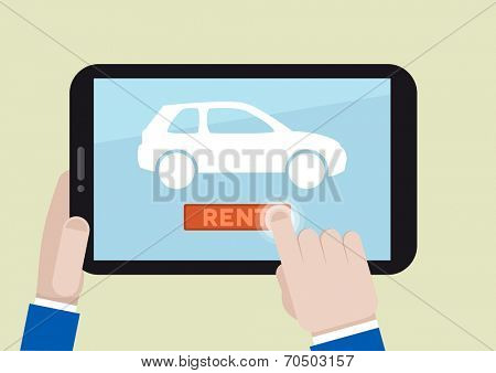 minimalistic illustration of renting a car with a mobile device, eps10 vector