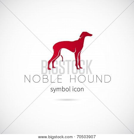 Noble Hound Silhouette Vector Symbol Icon or Label