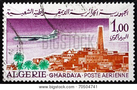 Postage Stamp Algeria 1967 Caravelle Over Ghardaia