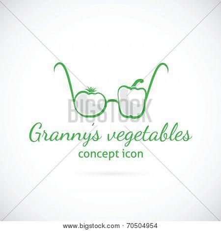 Granny's vegetables concept symbol icon