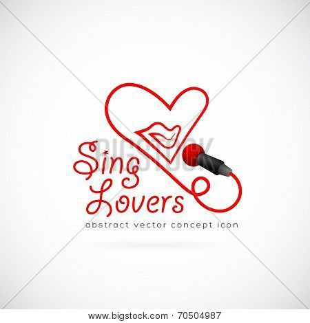 Sing lovers abstract vector symbol icon