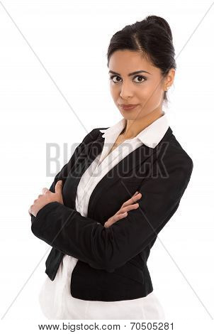 Isolated Successful Happy Indian Business Woman Over White.