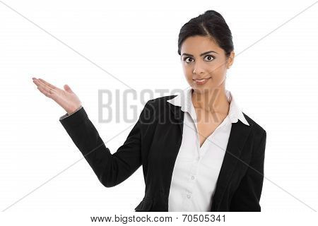Isolated Indian Professional Business Woman Presenting With Hand.