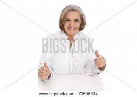 Portrait: Isolated Older Female Doctor With Experience.