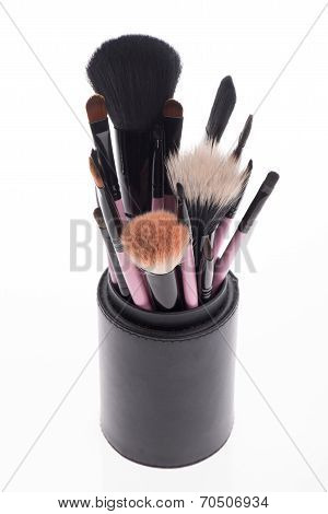 Close-up set of  professional  pink make-up brushes  different s