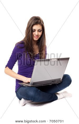 Brunette Using Laptop