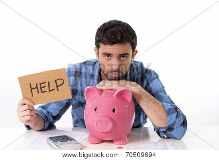 Sad Worried Man In Stress With Piggy Bank In Bad Financial Situation