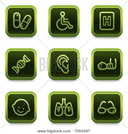 Medicine web icons set 1, green square buttons series