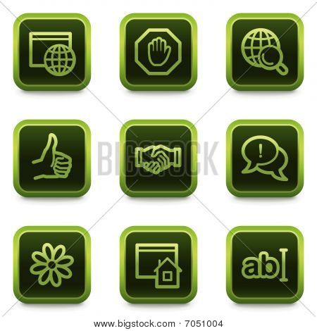 Internet web icons set 1, green square buttons series