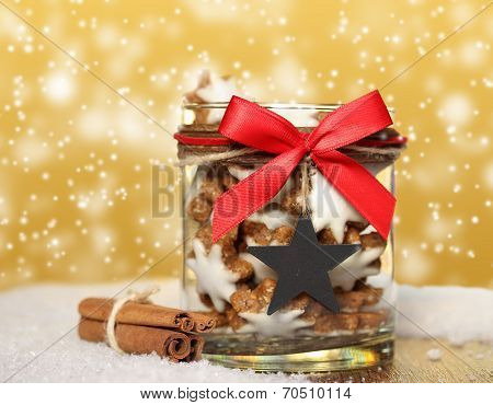 Jar With Ginger Bread And Cinnamon