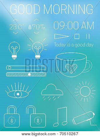 Thin mobile app interface design elements at blur blue background. Vector icons of light, music, loc