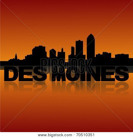Des Moines skyline reflected with text and sunset vector illustration