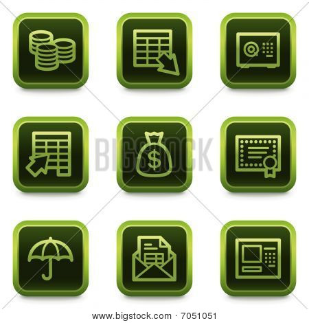 Banking web icons, green square buttons series