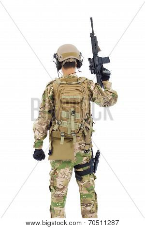 Back View Of Soldier With Rifle Or Sniper