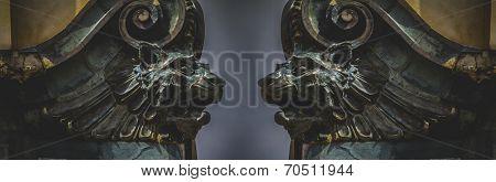 Gargoyles, gothic sculptures in madrid, spain