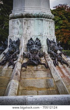 horror, devil figure, bronze sculpture with demonic gargoyles and monsters