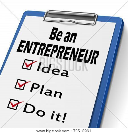 Be An Entrepreneur Clipboard